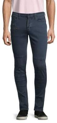 Paneled Exposed Stitched Zipped Skinny Jeans
