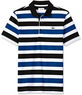 Lacoste Men's Short Sleeve Jersey Raye with Multi Color All Over Stripes Polo