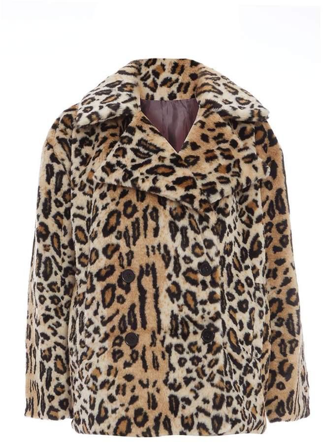 Stone and Black Faux Fur Leopard Print Jacket