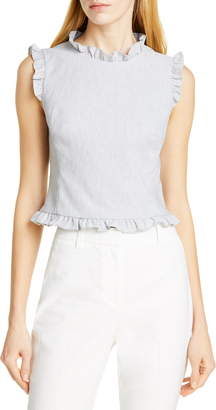 Rebecca Taylor Tailored by Ruffle Detail Sleeveless Linen Blend Blouse