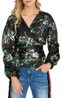 Buffalo David Bitton Off Limits Printed Satin Wrap Blouse