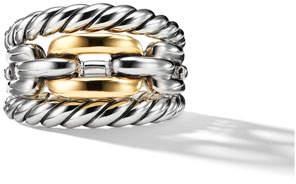 David Yurman Wellesley Link Three-Row Ring w/ 18k Gold