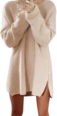 Bai You Mei Women's Side Zip Solid Color Knit Sweater Casual Sweatshirts Dress XL