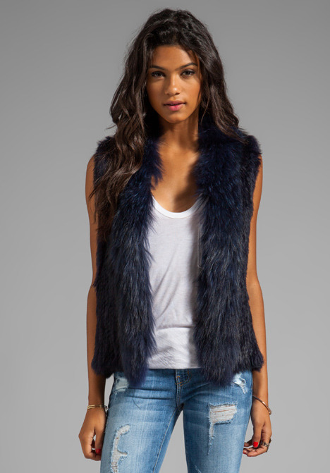 NICHOLAS Knitted Fur Trim Vest