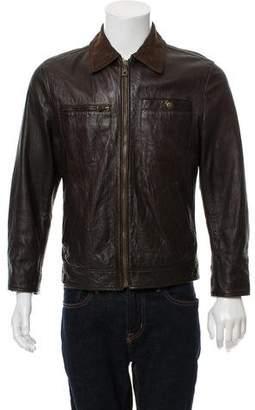 Dolce & Gabbana Leather Zip Front Jacket
