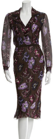 prada Prada Printed Midi Dress
