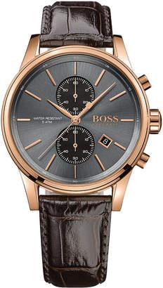 BOSS Hugo Men's Chronograph Jet Brown Leather Strap Watch 41mm 1513281