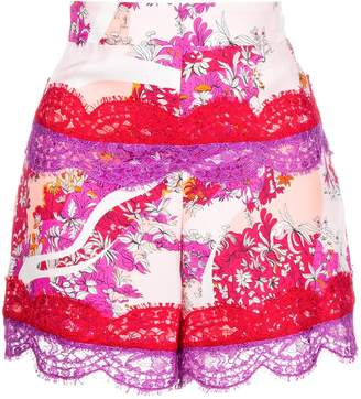 Emilio Pucci floral lace fitted shorts