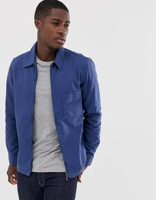 Nudie Jeans Sten zip through worker jacket in washed blue