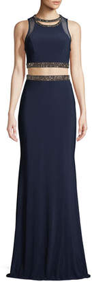 Faviana Jersey Two-Piece Bead-Trim Top & Skirt Formal Set