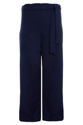 Quiz Curve Navy High Waist Tie Belt Palazzo Trousers