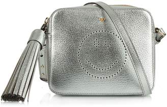 Anya Hindmarch Smiley Silver Leather Small Crossbody Bag