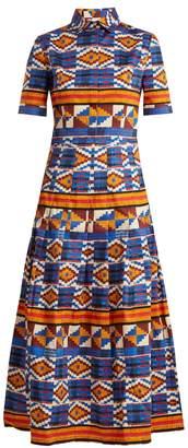 Ikat-print short-sleeved stretch-cotton dress