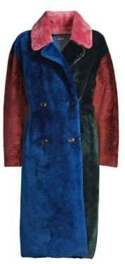 Anne Vest Safae Colorblock Long Shearling Coat
