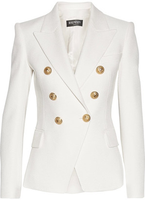 Balmain - Double-breasted Basketweave Cotton Blazer - White $1,790 thestylecure.com