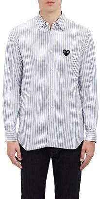 Comme des Garcons Men's Heart Patch Striped Shirt