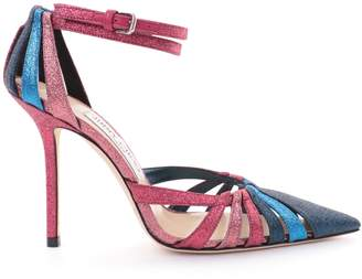Jimmy Choo TRAVIS 100 Raspberry Mix Glitter Fabric Strappy Pump with a Pointed Toe
