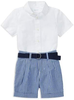 Ralph Lauren Boys' Poplin Shirt, Belt & Striped Shorts Set - Baby