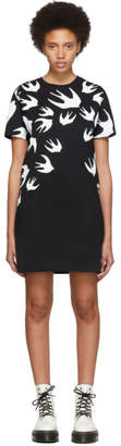 McQ Black and White Swallow Signature T-Shirt Dress