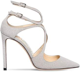 Jimmy Choo 100mm Lancer Glittered Leather Pumps