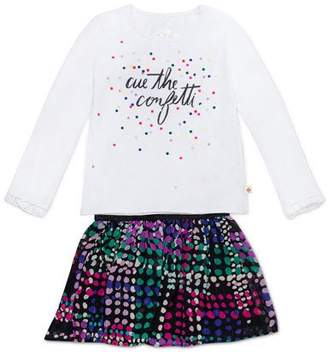 Kate Spade Cue The Confetti Top W/ Spot-Print Skirt, Size 2-6x