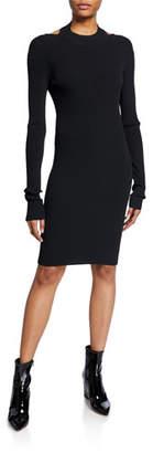 Helmut Lang Open-Back Long-Sleeve Ribbed Dress