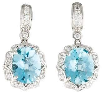 Charles Krypell 18K Aquamarine & Diamond Drop Earrings