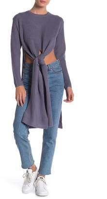 FAVLUX Long Sleeve Tie-Waist Slit Sweater