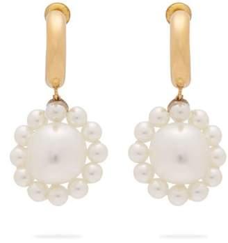 Simone Rocha Daisy Faux Pearl Drop Earrings - Womens - Pearl