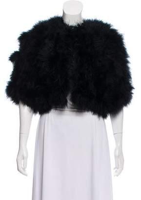 Adrienne Landau Marabou Cropped Jacket