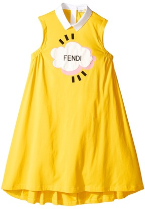 Fendi Kids - Sleeveless Collar Logo Graphic Dress Girl's Dress $286 thestylecure.com