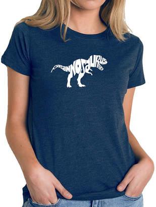 LOS ANGELES POP ART Los Angeles Pop Art Women's Premium Blend Word ArtT-shirt - TYRANNOSAURUS REX
