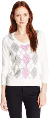 Caribbean Joe Women's Petite Argyle Pullover V-Neck Sweater