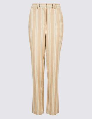 Marks and Spencer Linen Blend Striped Straight Leg Trousers