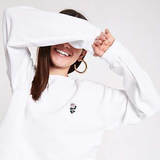 River Island White rose embroidered sweatshirt