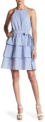 Soprano Tiered Tie Front Poplin Dress