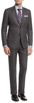 Kiton Windowpane Tic Wool Two-Piece Suit, Gray $8,495 thestylecure.com