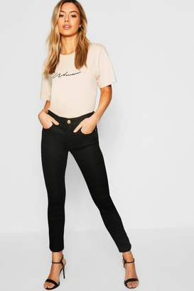 boohoo Petite One Button Mid Rise Skinny Jean