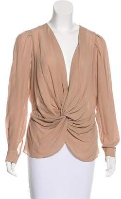 Chelsea Flower Silk Surplice Neck Top w/ Tags
