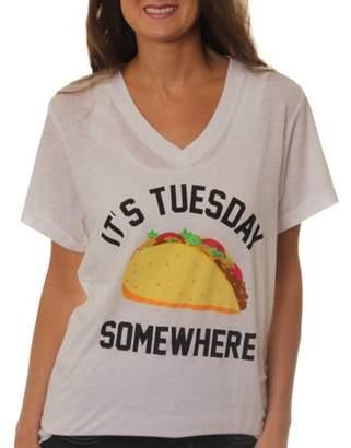 Freeze Women's It's Tuesday Somewhere Taco V-Neck Graphic Burnout T-Shirt