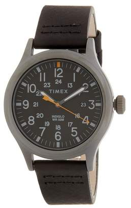 Timex Men's Allied Leather Strap Watch, 40mm