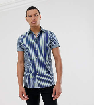 Asos Design DESIGN Tall skinny shirt in stripe denim