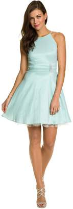Le Château Women's Taffeta Fit & Flare Halter Party Dress,M