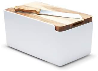 At House Salt Pepper Hudson Bread Bin White With Cutting Board Lid