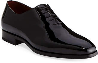 Magnanni Men's One-Piece Patent Leather Oxford Shoe Black