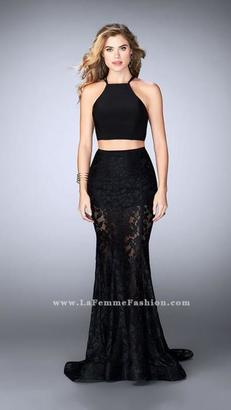 La Femme - Stunning High Neck Laced Two-Piece Dress 24029 $450 thestylecure.com