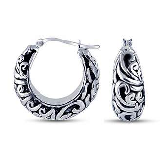 Charmsy Sterling Silver Jewelry Oxidized Antique Filigree Design Hoop Earrings for Women 25 MM