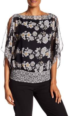 Max Studio Lace Print Flutter Sleeve Blouse