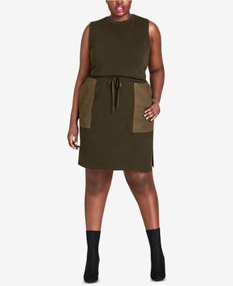 City Chic Trendy Plus Size Cotton Oversized-Pocket Dress