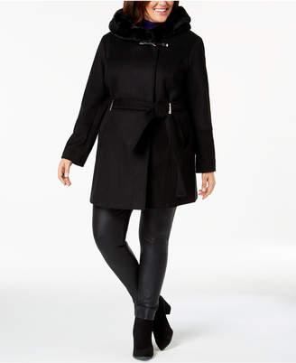 Calvin Klein Plus Size Faux-Fur-Trim Belted Coat